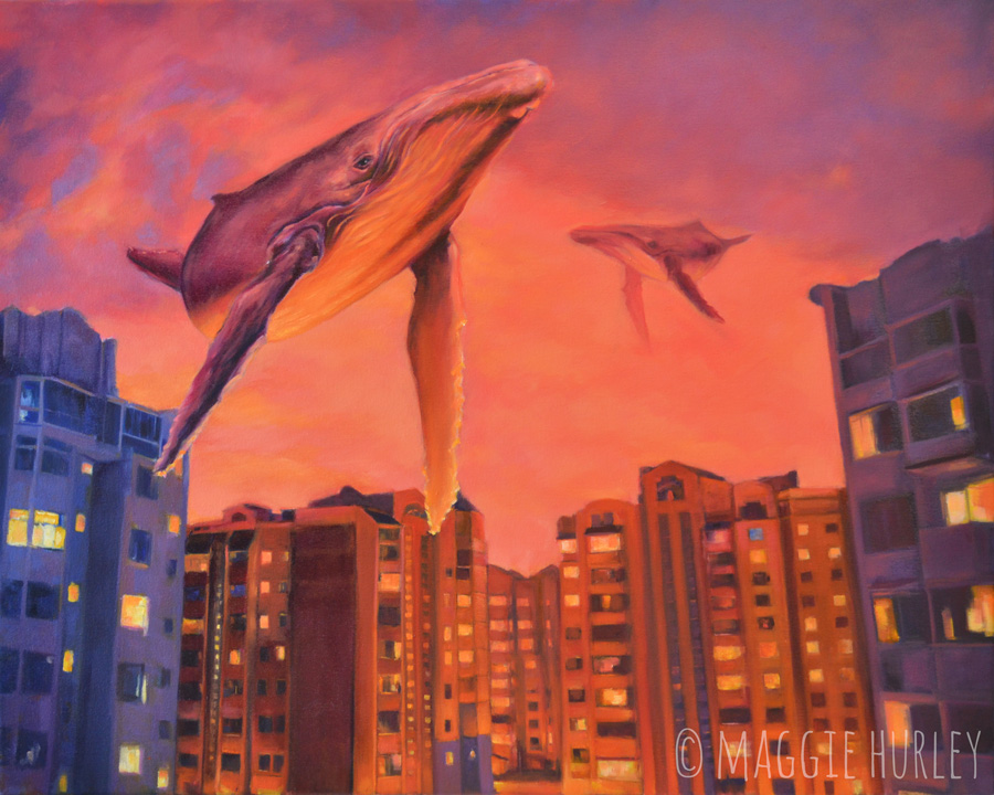Humpback whale painting in a pink sky over the Ukraine by Maggie Hurley