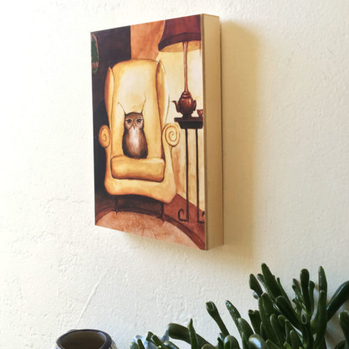 Herbert the Owl print by Maggie Hurley hung on a wall
