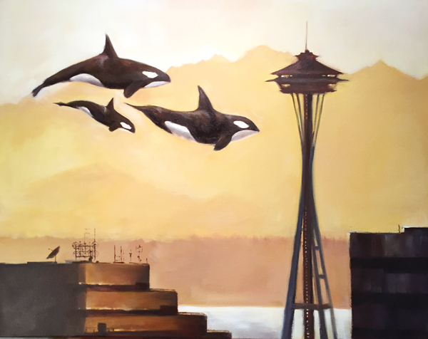 Orcas in Seattle, painting by Maggie Hurley