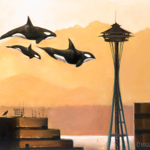 Painting of Orcas in Seattle by Maggie Hurley