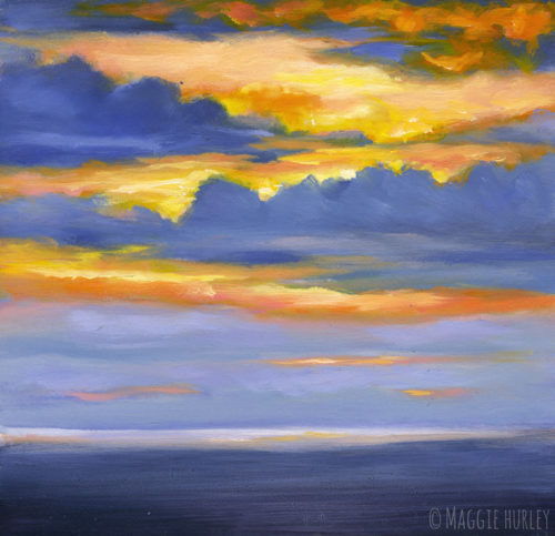 Purple and orange sunset seascape painting by Maggie Hurley