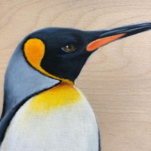 Emperor Penguin bird painting by maggie hurley close up