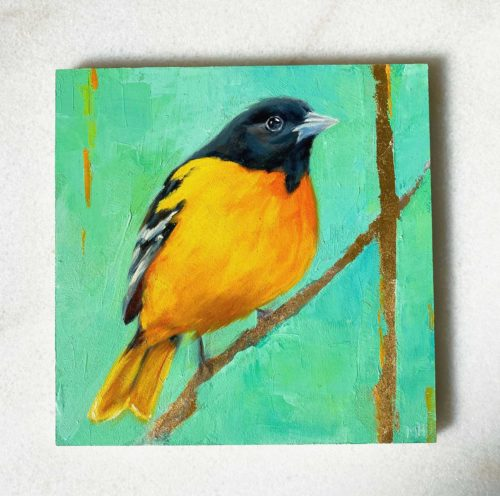 Bird art oil painting Baltimore Oriole