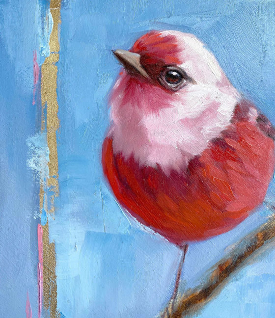 Pink headed warbler painting close