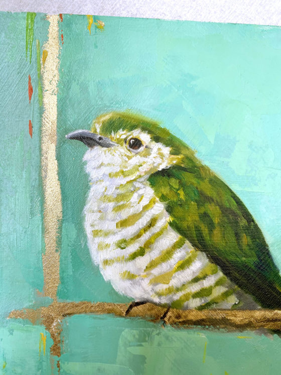 Bird art oil painting Shining Bronze Cuckoo close
