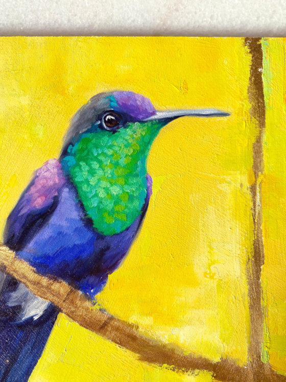 Bird art oil painting Violet Woodnymph close