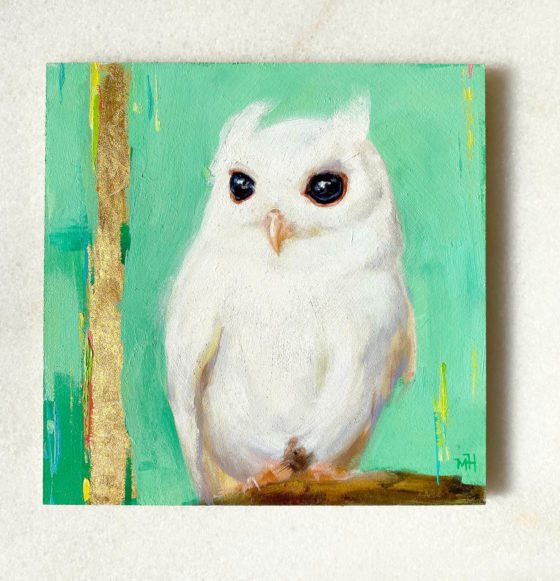 Bird art oil painting white screech owl