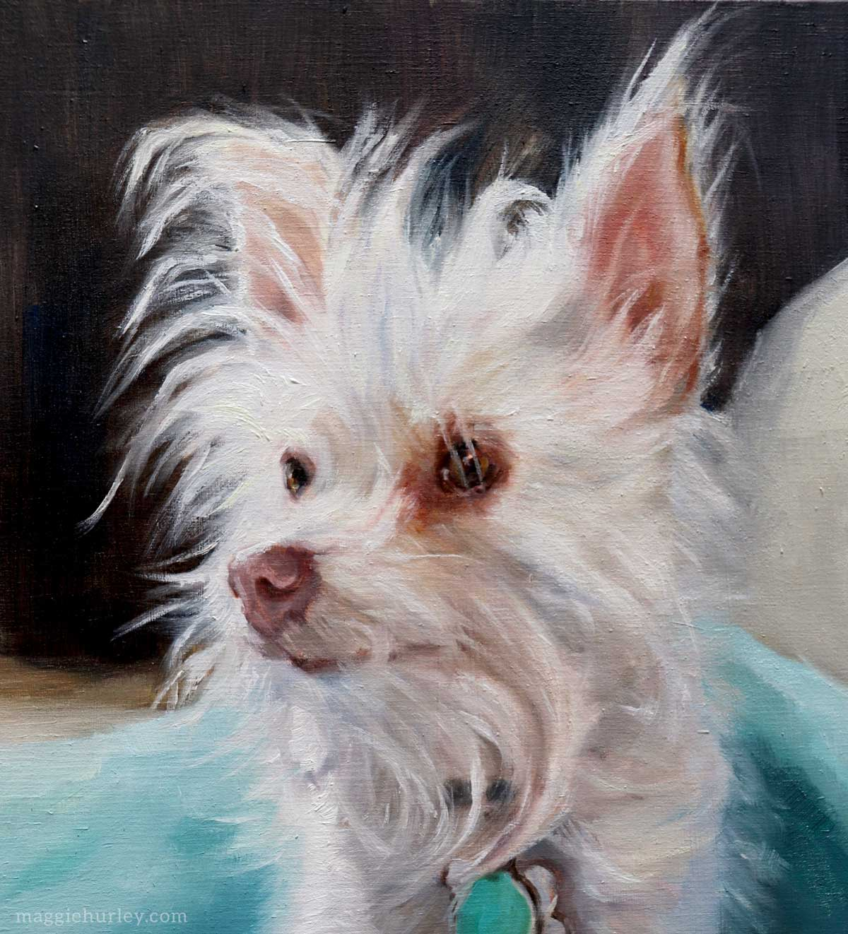dog portrait painting closeup