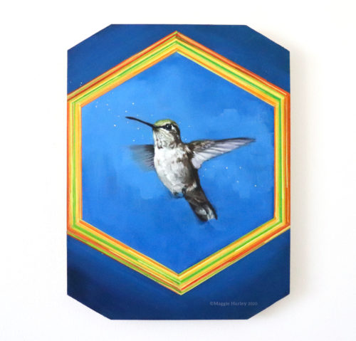 Oil painting of bird art. Calliope hummingbird in flight.