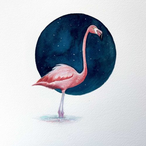 flamingo gouache painting